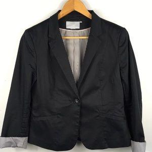 H&M Blazer Black Contrast Cuffs Jacket Size 8